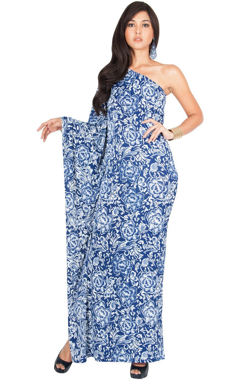 YELENA - One Shoulder Cape Print Sexy Maxi Dress - Dark Navy Blue / 2X Large