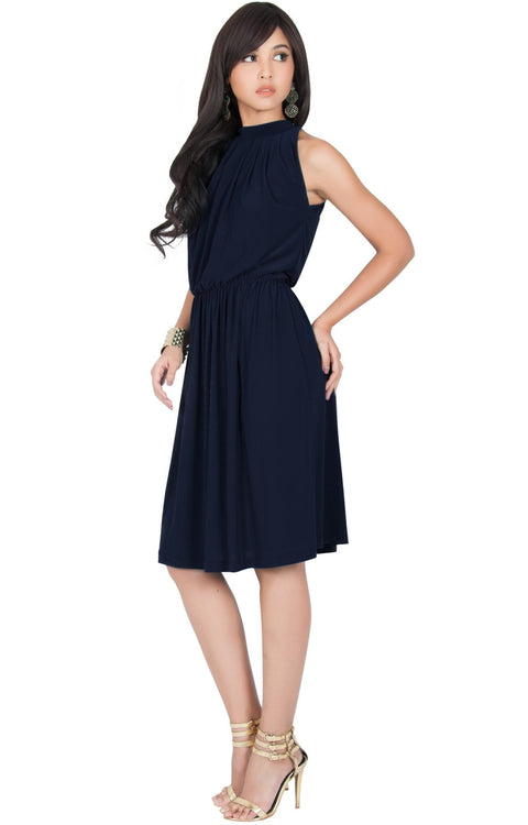 ZINA - Bridesmaid Wedding Formal Summer Flowy Knee Length Midi Dress