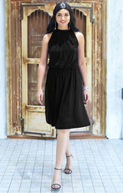 ZINA - Bridesmaid Wedding Formal Summer Flowy Knee Length Midi Dress - Black / 2X Large