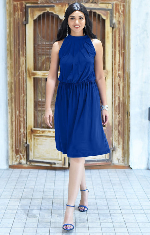 ZINA - Bridesmaid Wedding Formal Summer Flowy Knee Length Midi Dress - Cobalt Royal Blue / Extra Small