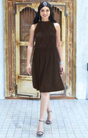 ZINA - Bridesmaid Wedding Formal Summer Flowy Knee Length Midi Dress - Dark Brown / 2X Large