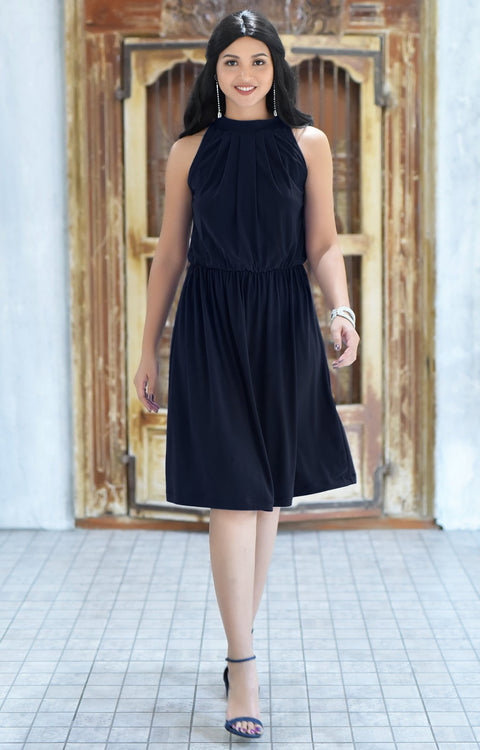 ZINA - Bridesmaid Wedding Formal Summer Flowy Knee Length Midi Dress - Dark Navy Blue / 2X Large