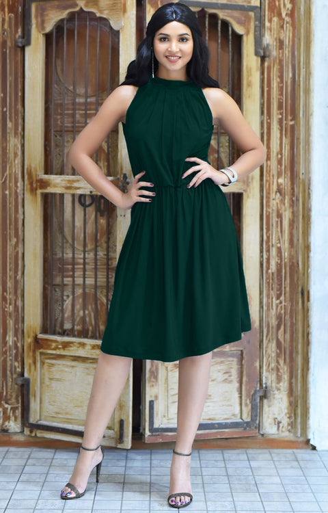 ZINA - Bridesmaid Wedding Formal Summer Flowy Knee Length Midi Dress - Emerald Green / 2X Large