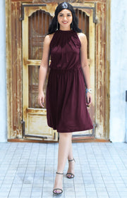 ZINA - Bridesmaid Wedding Formal Summer Flowy Knee Length Midi Dress - Maroon Wine Red / 2X Large