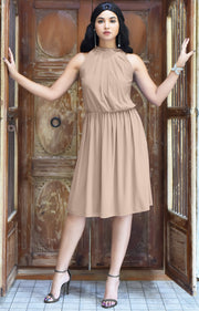 ZINA - Bridesmaid Wedding Formal Summer Flowy Knee Length Midi Dress - Nude Champagne Brown / Extra Small