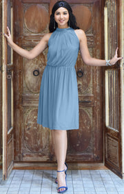 ZINA - Bridesmaid Wedding Formal Summer Flowy Knee Length Midi Dress - Pastel Blue / Extra Small