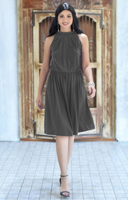 ZINA - Bridesmaid Wedding Formal Summer Flowy Knee Length Midi Dress - Pewter Gray Grey / 2X Large