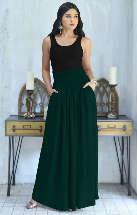 ZIYA - High Waist Long Flowy with Pockets Maxi Skirt