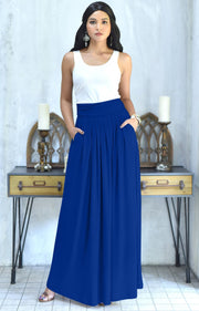ZIYA - High Waist Long Flowy with Pockets Maxi Skirt - Cobalt Royal Blue / Extra Small