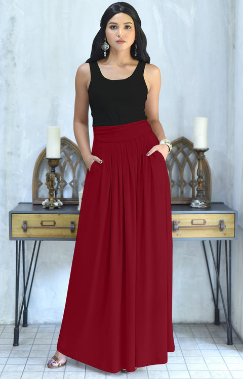 ZIYA - High Waist Long Flowy with Pockets Maxi Skirt - Crimson Dark Red / 2X Large