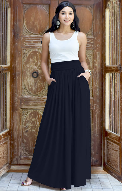 ZIYA - High Waist Long Flowy with Pockets Maxi Skirt - Dark Navy Blue / 2X Large