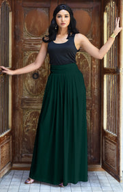ZIYA - High Waist Long Flowy with Pockets Maxi Skirt - Emerald Green / 2X Large