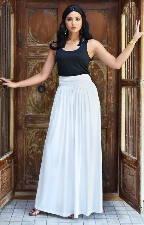 ZIYA - High Waist Long Flowy with Pockets Maxi Skirt - Ivory White / 2X Large