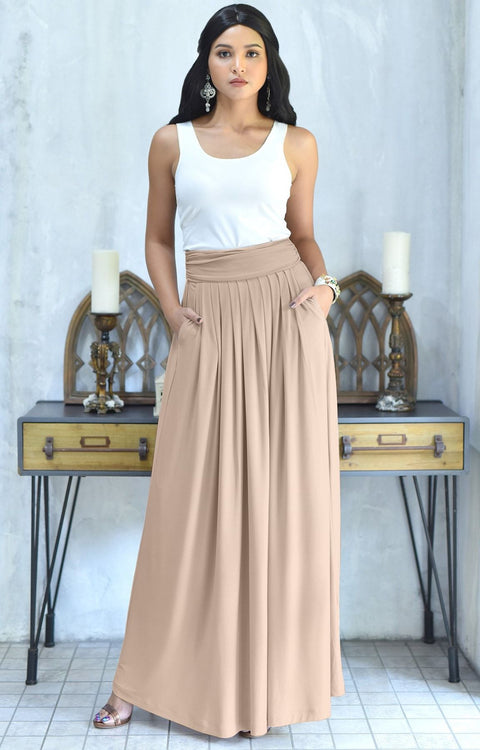 ZIYA - High Waist Long Flowy with Pockets Maxi Skirt - Tan Light Brown / 2X Large