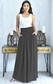 ZIYA - High Waist Long Flowy with Pockets Maxi Skirt - Pewter Gray Grey / 2X Large
