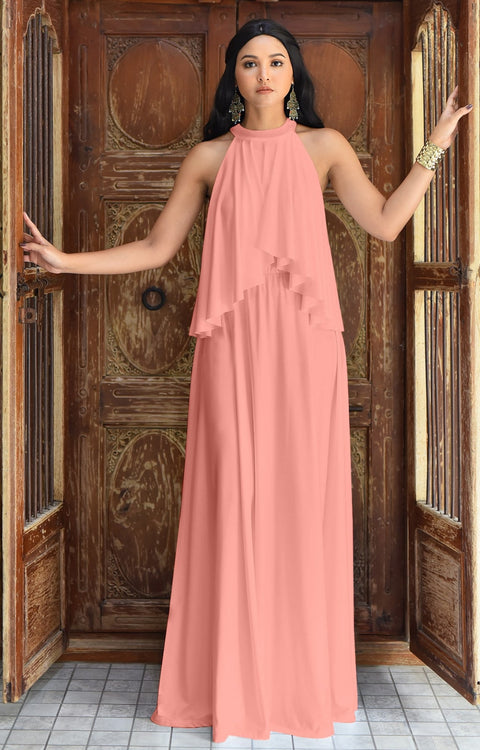 ZOE - Long Bridesmaid Cocktail Maxi Dress Gown Sleeveless Halter Flowy