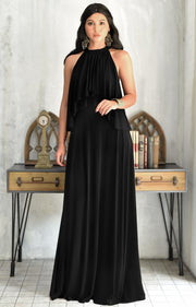 ZOE - Long Bridesmaid Cocktail Maxi Dress Gown Sleeveless Halter Flowy - Black / 2X Large