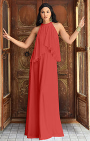 ZOE - Long Bridesmaid Cocktail Maxi Dress Gown Sleeveless Halter Flowy - Bright Coral Red / 2X Large