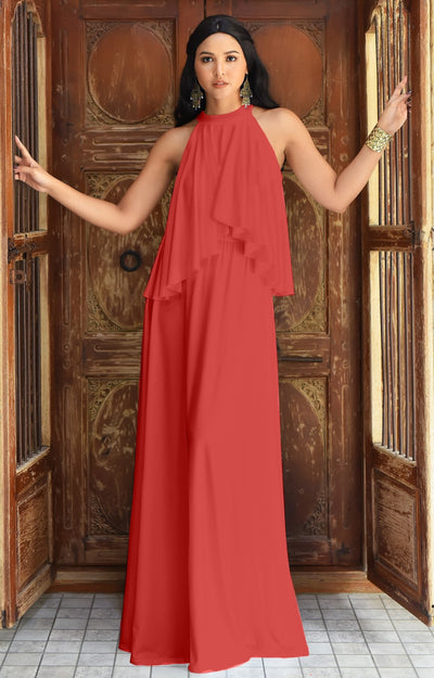 ZOE - Long Bridesmaid Cocktail Maxi Dress Gown Sleeveless Halter Flowy - Maroon Wine Red / 2X Large