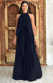 ZOE - Long Bridesmaid Cocktail Maxi Dress Gown Sleeveless Halter Flowy - Dark Navy Blue / 2X Large