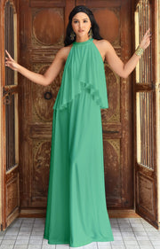 ZOE - Long Bridesmaid Cocktail Maxi Dress Gown Sleeveless Halter Flowy - Light Emerald Green / Small