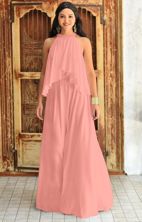 ZOE - Long Bridesmaid Cocktail Maxi Dress Gown Sleeveless Halter Flowy - Light Pink Peach / 2X Large