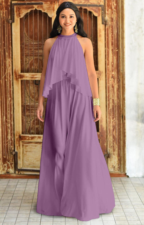 ZOE - Long Bridesmaid Cocktail Maxi Dress Gown Sleeveless Halter Flowy - Plum Light Purple / Small