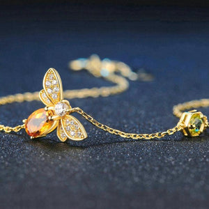 100% Natural Oval Citrine Silver Bee Chain Charm Bracelet - My Joy Hub