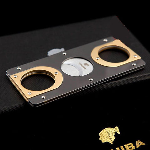 Image of Cigar Cutter Double Blades Stainless Steel Gold Plated Zigarre Cutter - My Joy Hub