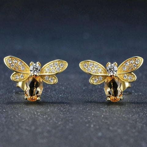 100% Natural Citrine 14K Yellow Gold Plated Stud Earring - My Joy Hub
