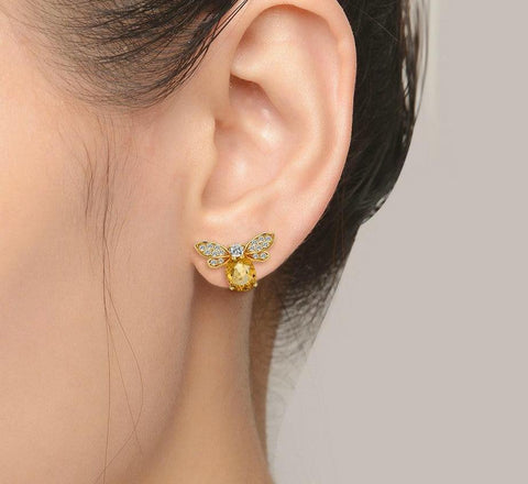 Image of 100% Natural Citrine 14K Yellow Gold Plated Stud Earring - My Joy Hub