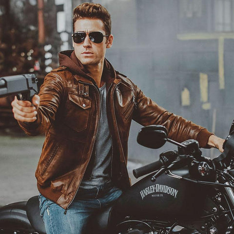 Image of Men's Warm Genuine Leather Motorcycle Jacket with Removable Hood for Winter - My Joy Hub