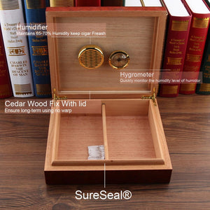 Humidor - Spanish Cedar Wood Cigar Humidifier Box with Magnic Hygrometer