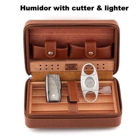 Image of Travel Humidor - Best Portable Leather Travel Cigar Humidifier Gift Box - My Joy Hub