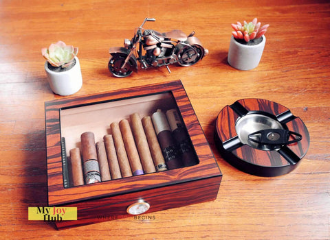 Image of Cigar Humidor Humidifier Gift Box with Cutter and Ashtray - My Joy Hub