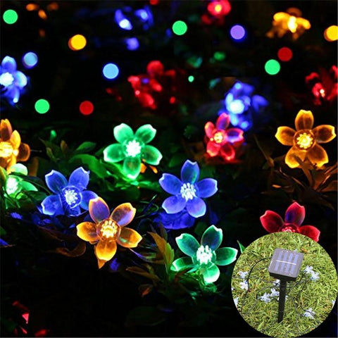 Image of Peach Flower Solar Powered LED String  Lamp - 50 LEDs with 7.2Ft - My Joy Hub