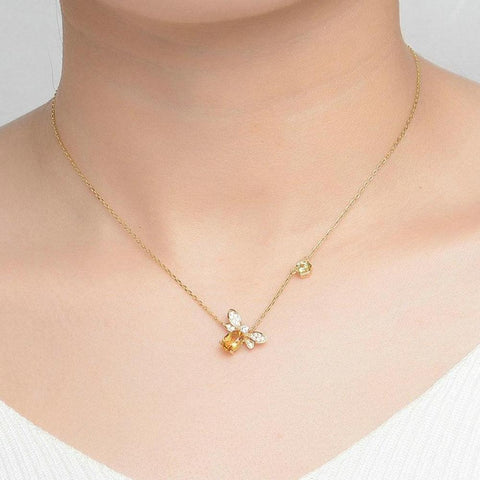 100% Natural Citrine 14K Yellow Gold Plated Bee Chain Pendant Necklace - My Joy Hub