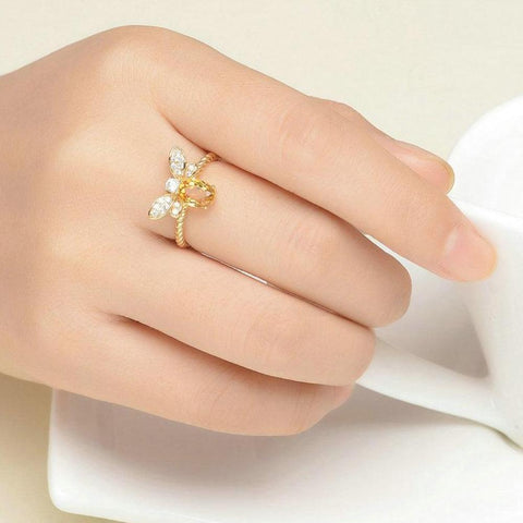 100% Natural Oval Citrine 925 Silver Wedding Ring with 14K Gold Plated - My Joy Hub