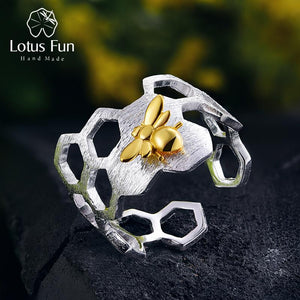 Natural Handmade 925 Sterling Silver Honeycomb Open Ring - My Joy Hub
