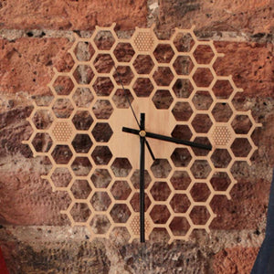 Simple Modern Honeycomb Wooden Wall Clock