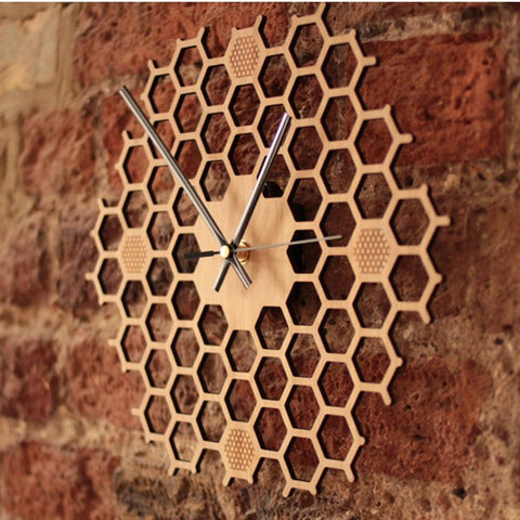 Simple Modern Honeycomb Wooden Wall Clock - My Joy Hub