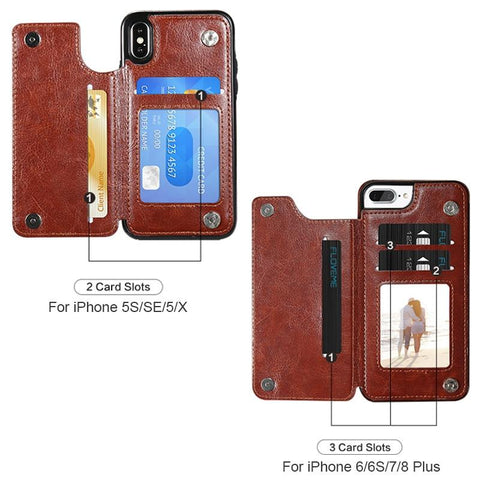 Leather iPhone Wallet Case - Lightweight & Shockproof - My Joy Hub
