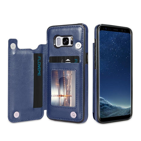 Luxurious Samsung Galaxy Leather Card Slot Wallet Phone Case - My Joy Hub