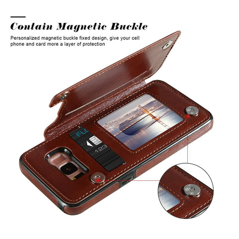 Image of Luxurious Samsung Galaxy Leather Card Slot Wallet Phone Case - My Joy Hub