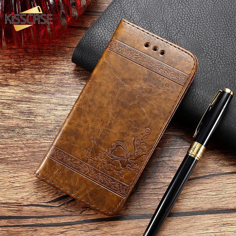 Image of Luxury Retro Leather Cover Flip Case For iPhone/ Samsung Galaxy - My Joy Hub