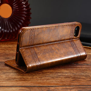 Luxury Retro Leather Cover Flip Case For iPhone/ Samsung Galaxy