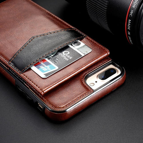 Image of Retro Leather Wallet Case For iPhone X 8 7 6S 6 Plus Card Slot Holder Phone Cases - My Joy Hub