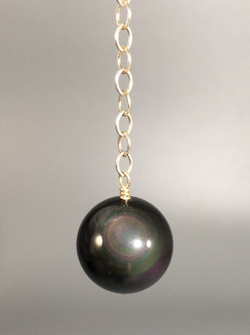 Big Rainbow Obsidian bead pendulum - Fall Equinox
