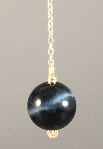 Blue Tiger's Eye pendulum made on the Equinox