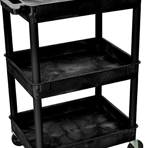 "Luxor STC111 40.5"" Automotive Utility Cart with 3 Shelves, Black"
